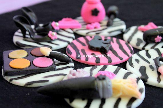 fondant makeup/barbie cupcake toppers