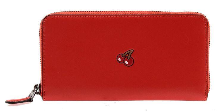 Coach Pac-Man Calf Leather Accordion Zip Wallet, F55736 (Watermelon)