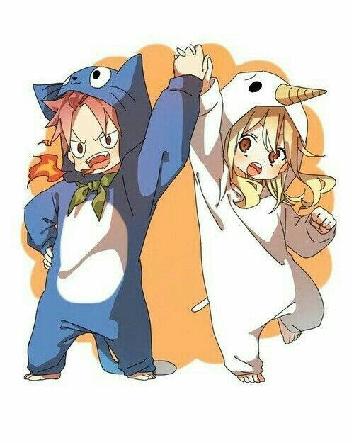 Nalu || Natsu Dragneel ( in Happy costume ) x Lucy Heartfilia ( in Plue costume ) || Fairy Tail