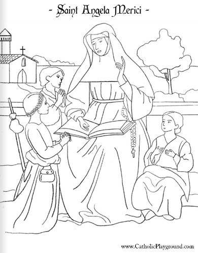 saint angela merici coloring page, feast day is january