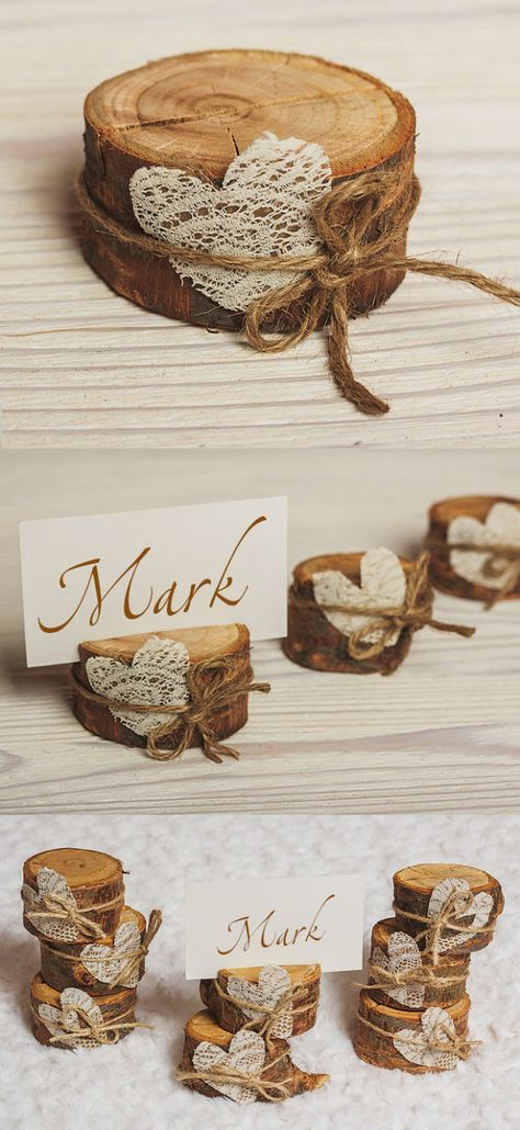 30 set of Cherry Bark Place Card Holders Rustic wedding card stand with lace heart Dark wood Holiday Table Decor Bridal Showers Party Favors – denise dömel