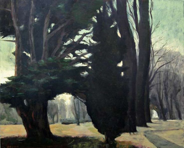 """ Rick Amor (Australian, b. 1948), Figure in the Gardens, 2003. Oil on canvas, 60 x 73 cm. """