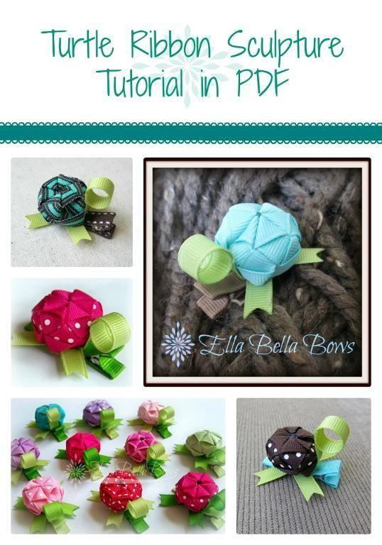 Turtle Ribbon Sculpture Tutorial pattern from Ella Bella Bows