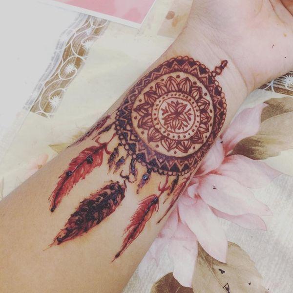 Decorative Henna Dreamcatcher Tattoo on Wrist