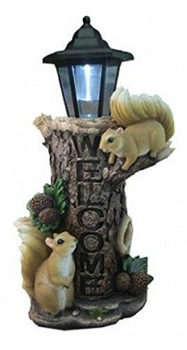 "Woodlands Welcome Squirrel Lantern Light | Squirrel Couple Lantern For Patio  This Squirrel Lantern lamp is perfect for any patio or lawn. The material used is polyresin which gives this naughty Squirrels life like features. 16 (H) Battery Operated (not included). "" Features : Squirrel Lantern *Squirrel Couple Playing *Patio/Lawn Welcome Sign *Polyresin Material *Detailed Design"