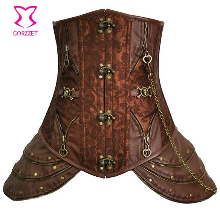 Hot Shapers Women Trainers Green Brocade& Leather Steel Boned Steampunk Corset Underbust Corpetes E Espartilhos Gothic Clothing