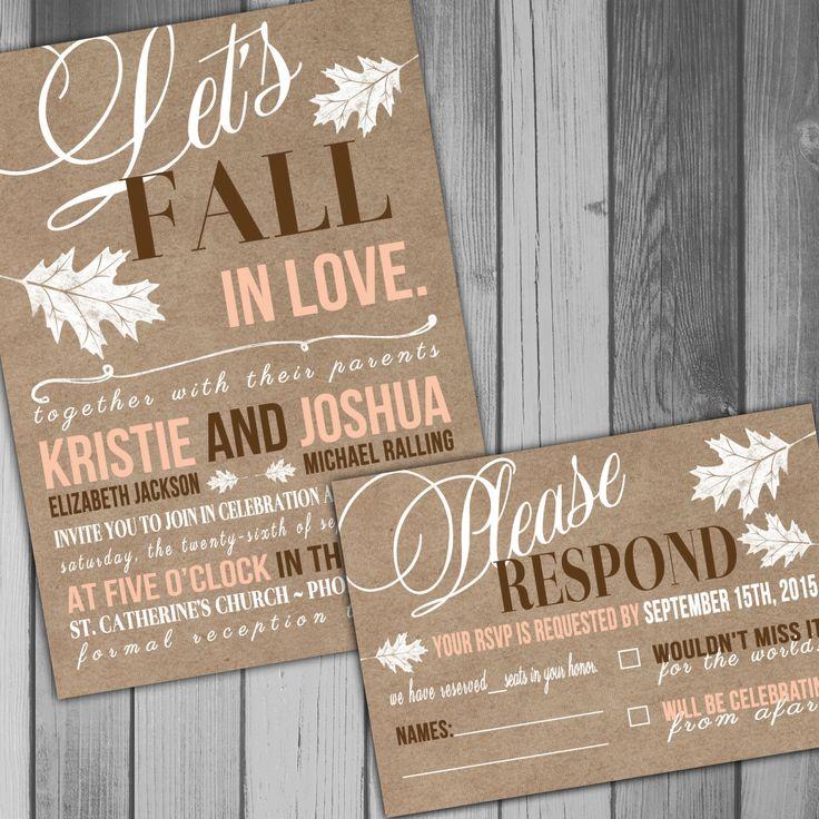 Fall Wedding Invitation Wedding Invitation Rustic by CLaceyDesign