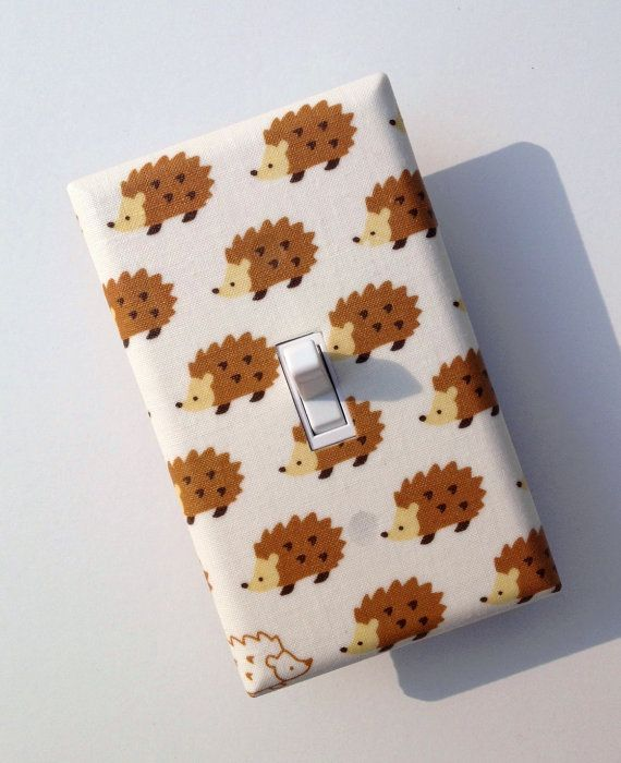 Light Switch Plate Cover / Hedgehog / Baby Nursery / Children Kids Room / Japanese Import Fabric. $10.00, via Etsy.