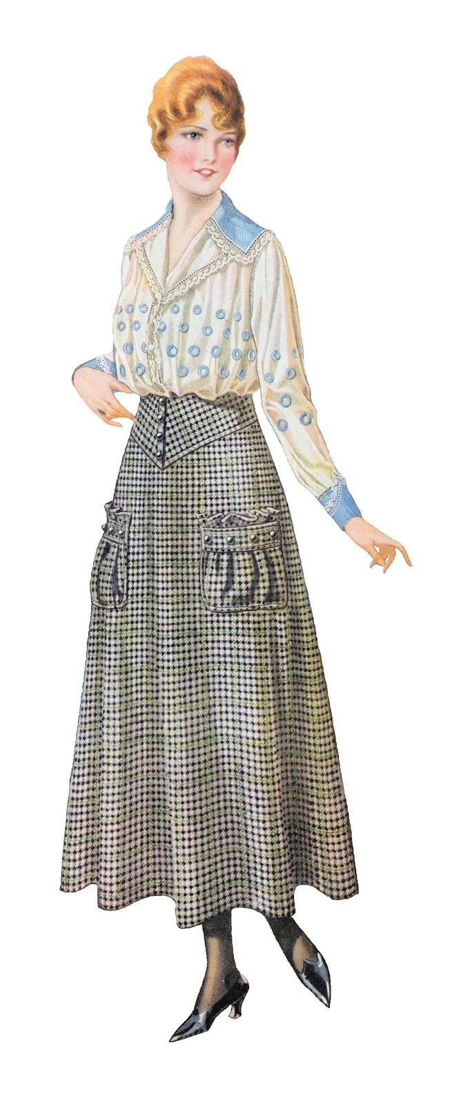 I want to make this heckered skirt. She doesn't really need a purse! This piece of vintage fashion clip art is from a 1915 clothes catalog. This looks to be a perfect spring or summer outfit by the simple look and light fabric. I hope you enjoy!