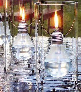 So Creative!  Oil Lamps from light bulbs! you can also spray the outside of light bulb over lace doily and have any color you might need for theme