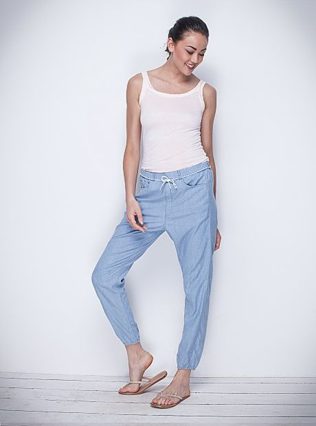 The versatile 'Liv' Pants bring a touch of class with it. With an elastic waist, pockets on either side and cuffed ankles, it is perfect for the office or a casual day out. We like it teamed with our Marlene T-shirt. These pants are available in a range of colours: Black Zebra, Sky Denim and Zick Zack Apricot. AUD$129.90 | #buddhawear #womenswear