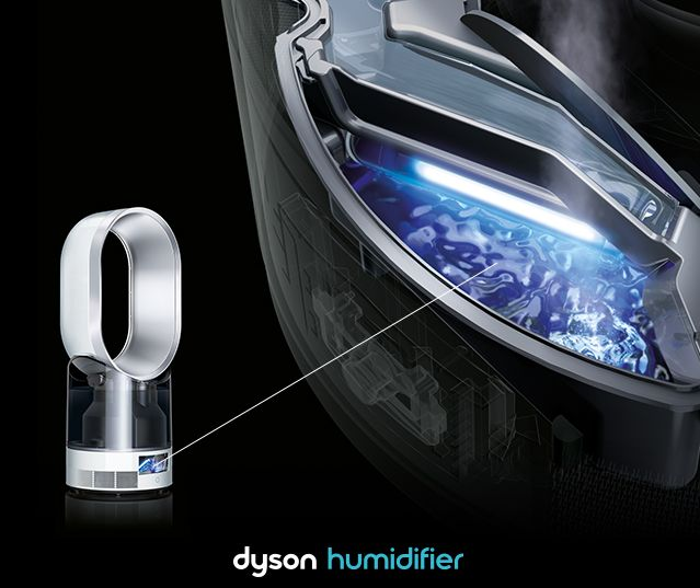 "slick quiet ••Dyson Humidifier•• pre-order  2015-08-03 • $500 • 2 year warranty • features: Ultraviolet Cleanse™ technology / Even, whole room humidification (Patented Air Multiplier™ tech) / the most accurate climate control (auto-adjusts temperature/humidity) / Dual function: humidifier + high-velocity air cooler / Remote (airflow + humidity levels; magnetized to store onto machine) • size: 22.8""h / 9.4"" amp dia • 7.8lbs • cord 5.9' • colors: iron/blue or white/silver or black/nickel"