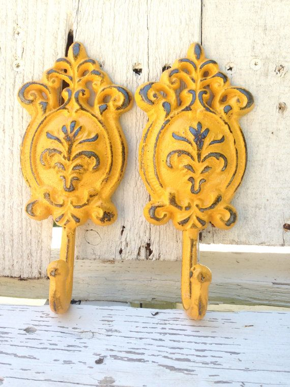 Yellow Vintage Wall Hooks Shabby Chic Decor by ShineBoxPrimitives
