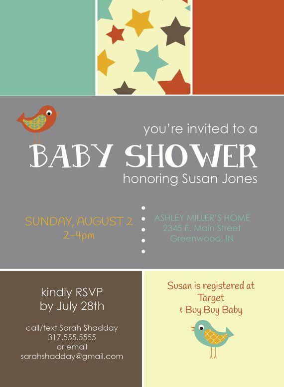 sweet stars u0026 birdies gender neutral baby shower invitation