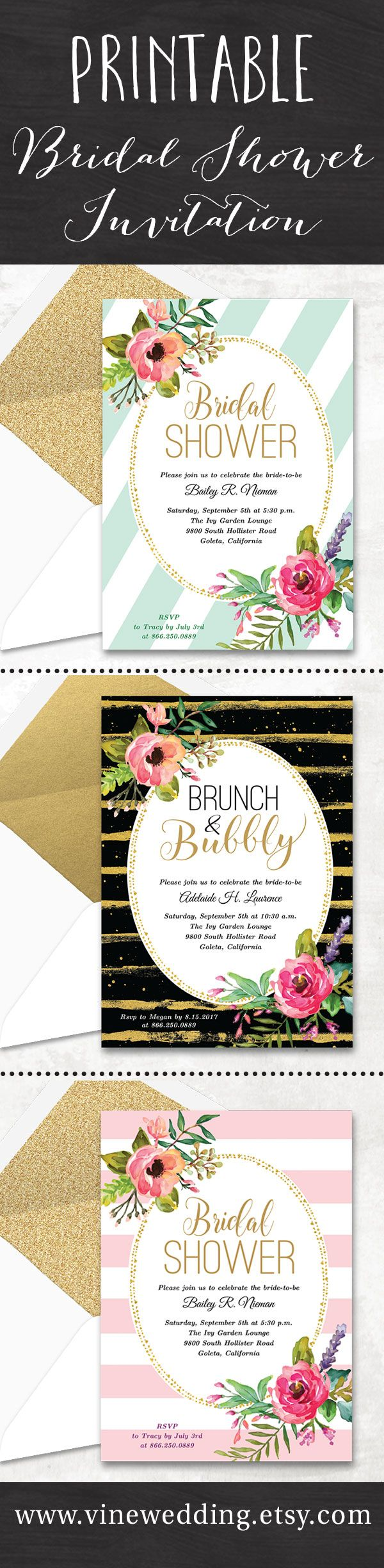 Printable bridal shower invitations at wwwvineweddingetsycom bridal