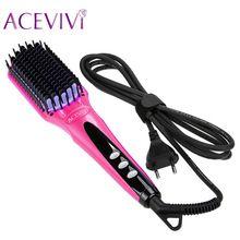 US $31.18 ACEVIVI Digital Electric Hair Straightener Brush Comb Detangling Straightening Irons Hair Brush EU/ US/ UK Plug. Aliexpress product