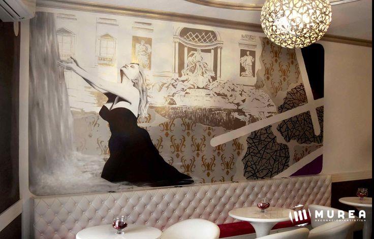 Mural, para pub, la dolce vitta, mas trabajos en: http://murea.es/decorativos-y-exteriores/
