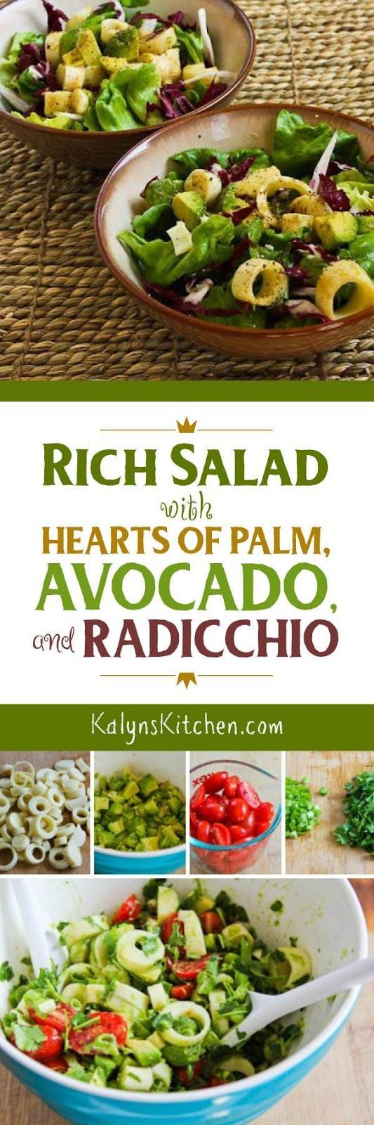 Rich Salad with Hearts of Palm, Avocado, and Radicchio is perfect for a holiday meal or special dinner, and this amazing salad is low-carb, gluten-free, dairy-free, and South Beach Diet friendly, and if you skip the Worcestershire sauce it can easily be Paleo or Whole 30.  [found on KalynsKitchen.com] #SaladRecipe #HolidaySaladRecipe #HeartsofPalmSalad