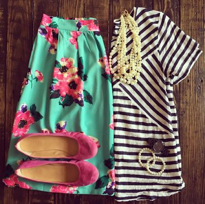 White Coat Wardrobe: stripped top floral skirt. Cute outfit. Great teacher outfits