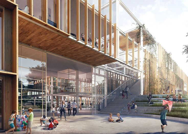 Naerheden Primary School On Behance In 2020 Architecture Photography Buildings Architecture Rendering Library Architecture