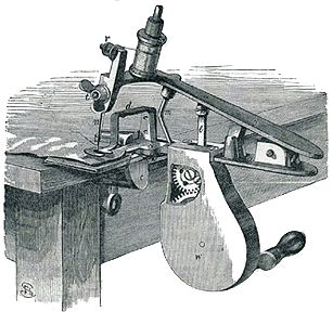 This illustration of the USA-produced Beckwith machine is taken from an 1872 advertisement. The sales pitch was aimed at the new gear hand-drive.