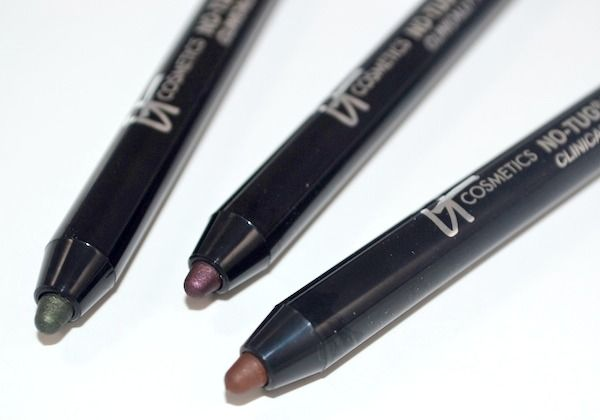 It Cosmetics No Tug Waterproof Gel Eyeliners - Lucky jade, plum and brown
