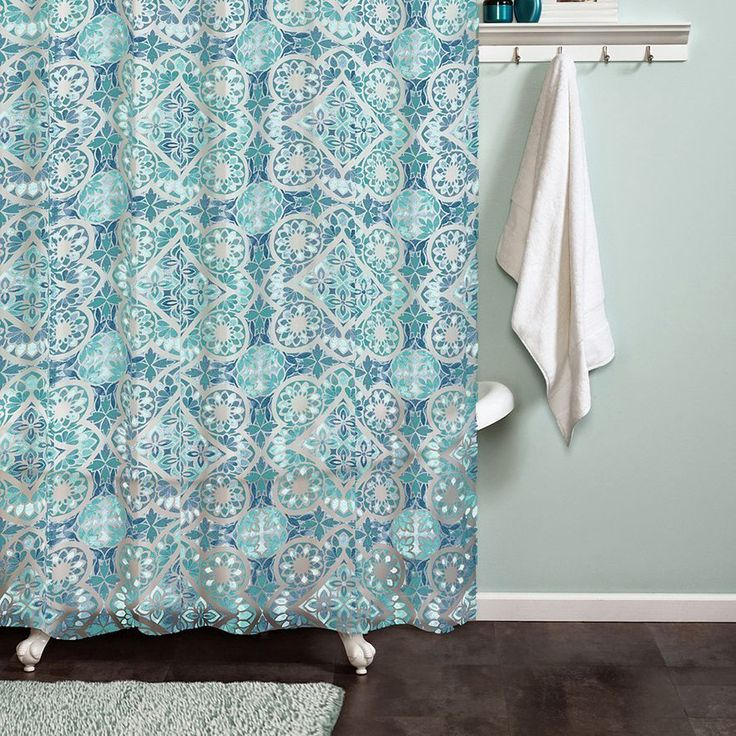 India Ink Moroccan Shower Curtain Peva Vinyl Blue Green Clear