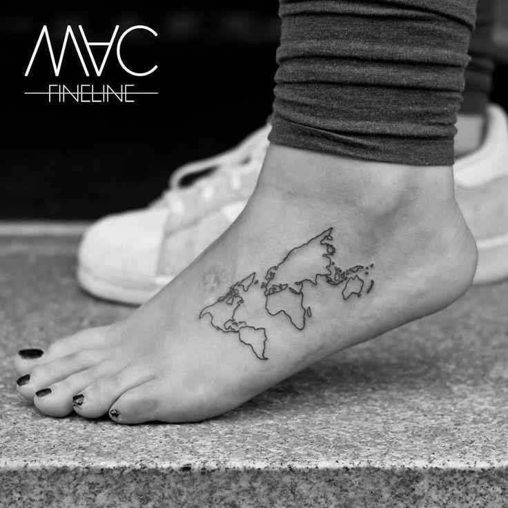 """1,881 Likes, 59 Comments - mac fineline (@mac_fineline) on Instagram: """"Einmal um die Welt und zurück... #tattoooftheday #worldmap #map #welt #weltkarte #fineline…"""""""