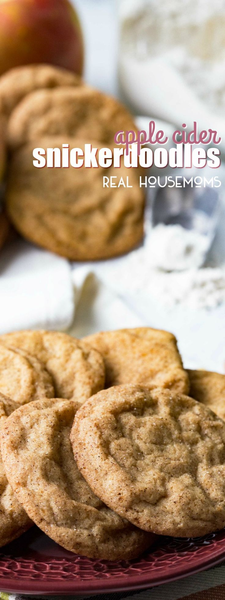 Apple Cider Snickerdoodles are the sweet cinnamon sugar cookie that  you love with apple cider flavor to really step up the Fall flavor! These are an easy dessert recipe that you'll love!!!      via @realhousemoms