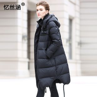 2016 winter new women's long-sleeved European and American solid color in  the long paragraph thick hooded down jacket