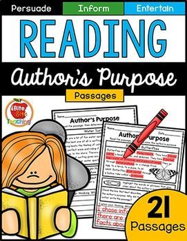 Author's Purpose Text-Coding Reading Passages. 21 fun and engaging NO PREP AUTHOR'S PURPOSE PASSAGES inviting students to text code clues as they read and to explain their thinking in complete sentences. Author's Purposes include: To Persuade, to Inform, and to Entertain. The P.I.E acronym is used to help reinforce author's purpose skills in the included posters.