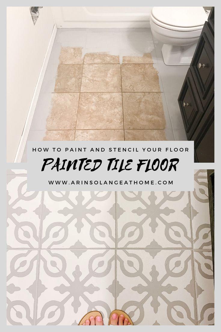 How To Paint Tile Floors Arinsolangeathome Painting Tile Floors Tile Floor Diy Painted Bathroom Floors
