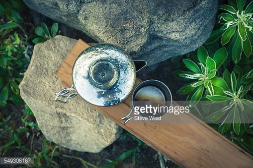 Stock Photo : View of coffee percolator and coffee cup