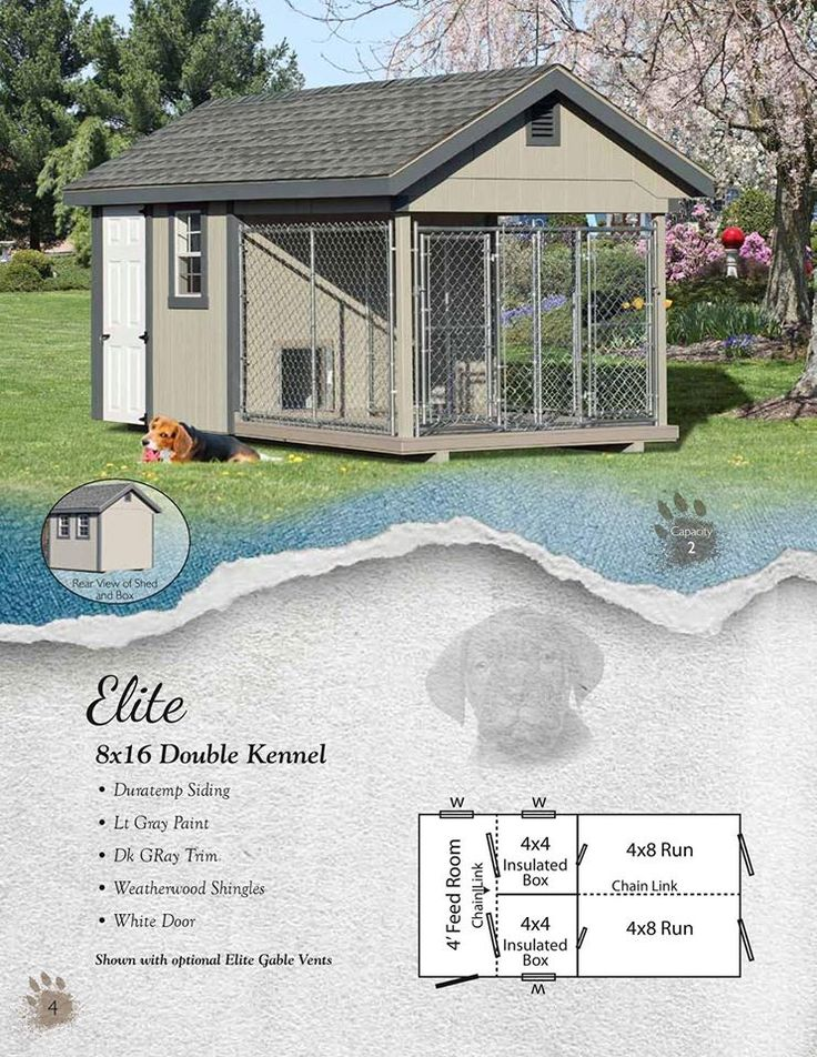 Elite 8x16 Kennel ~Amish Built ~ Light Gray Paint ~ Dark Gray Trim ~ Weatherwood shingles ~ White door This picture shows the optional Elite gable vents This Kennel has a 4' Feed Room two 4x4 Box and 4x8 Run  Contact me to order yours! www.facebook.com/hometownshedsasheboro
