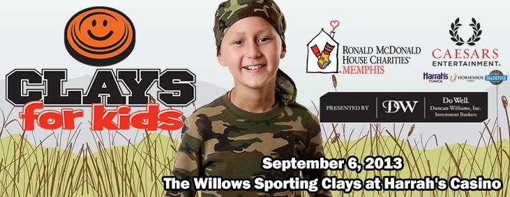 The 2nd Annual Clays for Kids will be held on September 6 at The Willows Sporting Clays at Harrah's Casino in Tunica, MS.  The clay shoot is from 2 p.m. - 4:30 p..m.  Join us after the clay shoot for the Clays for Kids River Bash from 5p.m. - 9:00p.m.   For more information on how you can participate in the 2nd Annual Clays for Kids, contact Bonnie Butcher at bonnie@rmhc-memphis.org or by phone at 901-312-7479.