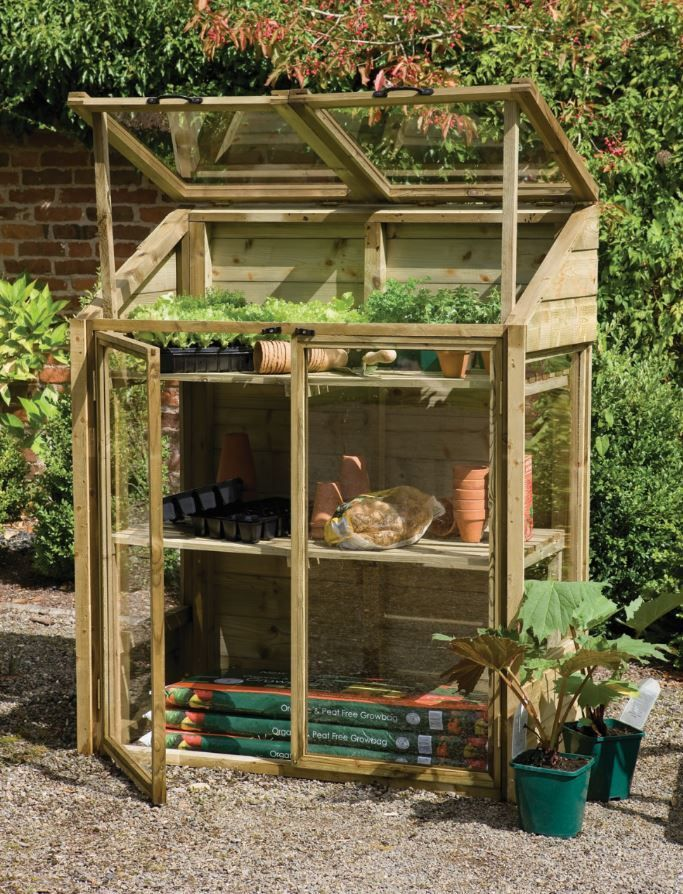 The fantastic Forest Garden Mini Greenhouse is build with tongue and groove shiplap pressure treated timber, which has a 15 year guarantee.