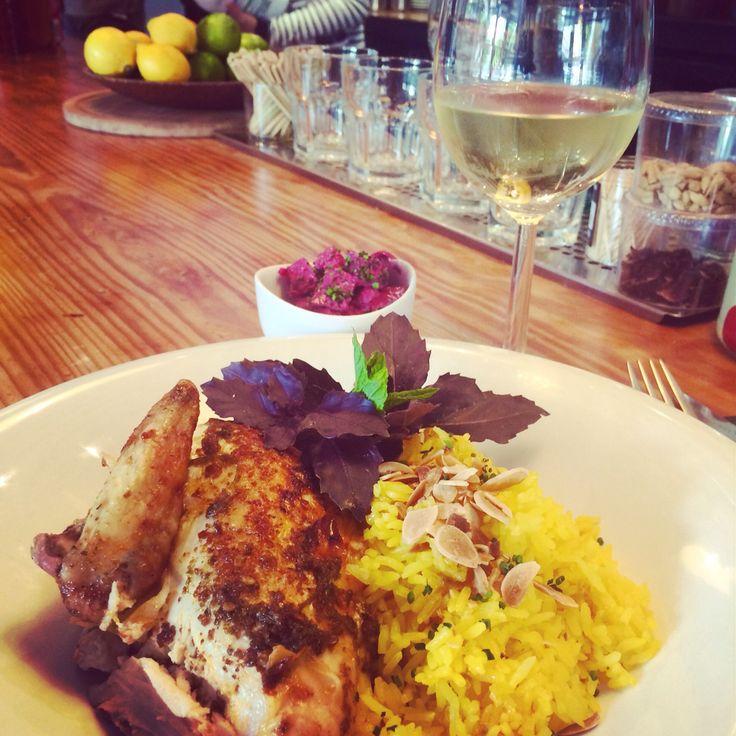pollo peri peri with safron rice and beetroot salad