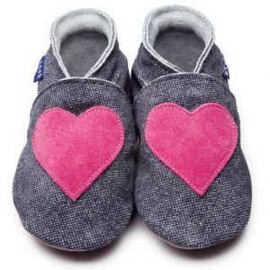 Love Denim/Shocking Pink Inch Blue Shoes - Soft Handmade Leather Baby Shoes