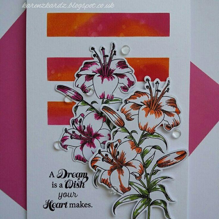 Lovely Lily stamp set by Honey Doo Crafts  #honeydoocrafts #dtsample #lovelylily #flowers #beautiful #distressinks #masking #stamping #stamp #cardmaking #card #creative #craft #ilovetocraft #creativity #karenzkardz