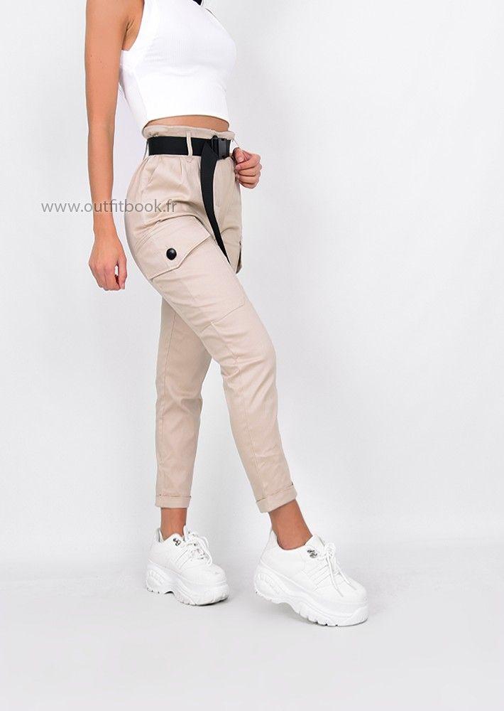 Pantalon Cargo Beige Avec Ceinture Pantalones Cargo Mujer Pantalones De Moda Mujer Ropa De Moda