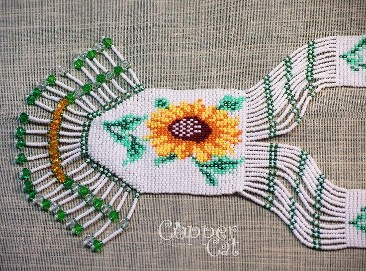 "Gerdan ""Sunflowers"". Seed beads jewelry. Handcraft. Ukrainian folk art. Czech seed beads. Traditional Folk necklace."