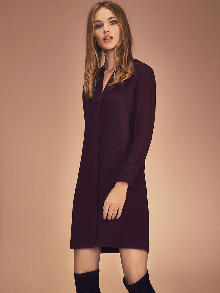 Autumn winter 2016 Women´s FRONT DETAIL BURGUNDY DRESS at Massimo Dutti for 140. Effortless elegance!