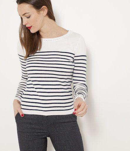 Pull marinière femme