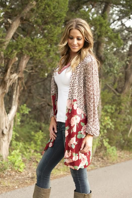 """Loving this oversized floral boyfriend cardigan-  """"Sadie"""" and also comes in a black motif called """"Sutton from Piper Street."""