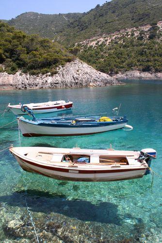 Fishing boats anchored at Porto Vromi, Zante (Zakynthos)