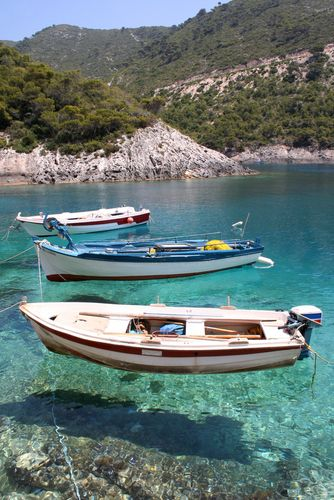 Fishing boats anchored at Porto Vromi, Zante (Zakynthos)