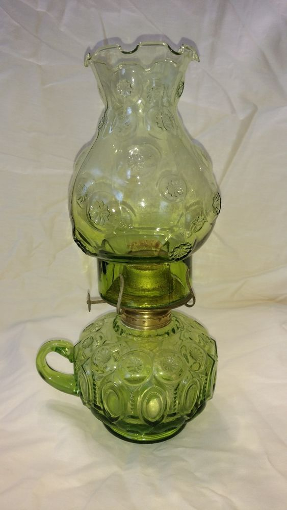 L.E Smith Antique Green Moon And Stars Oil Lamp With Green Chimney & Finger Hold  | eBay