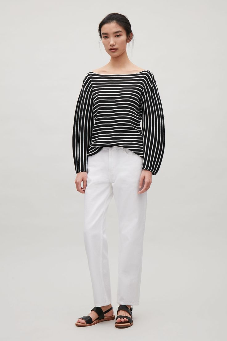 COS image 1 of Striped rib jumper in Black