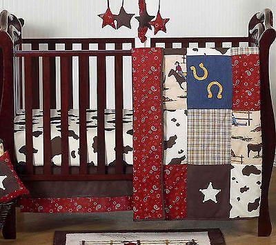 Sweet Jojo Designs Bumperless Western Cowboy Themed Baby Boy 4p Crib Bedding Set