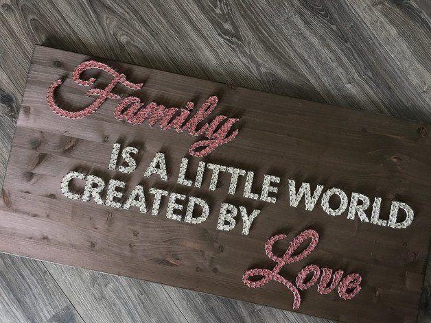 String Art Wandbild {Family is a little world}